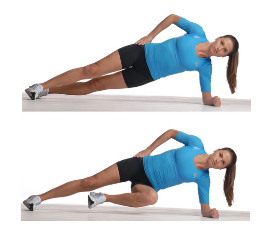 side plank knee tuck