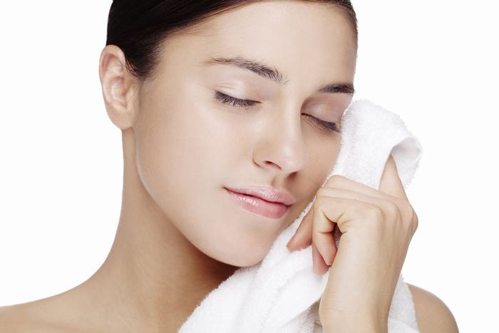 towel dry face