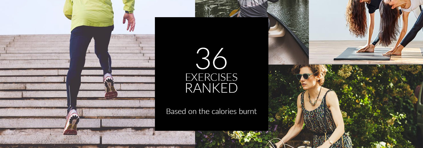 36 exercises ranked based on the calories burnt