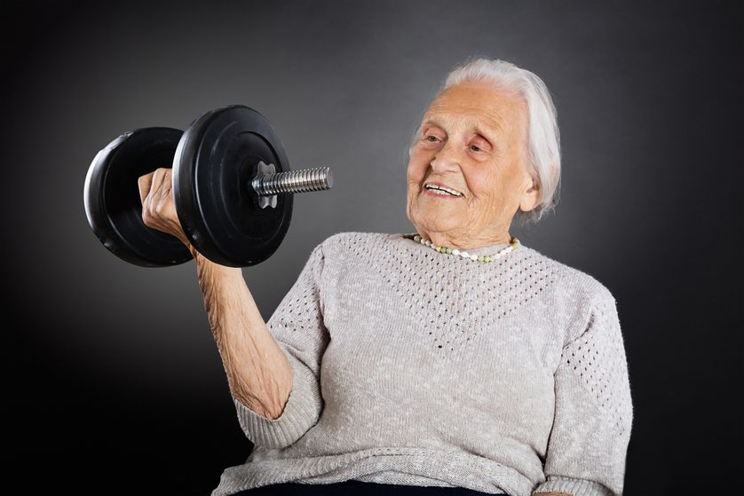 Old Woman Lift Weights